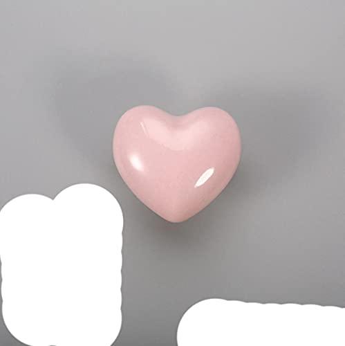 Cartoon Color Ceramic Hand-in-Hand Wardrobe Door Hand-in-Hand Children's Room Cute Single-Hole Round Drawer Handle Crystal Knobs-Love - Pink