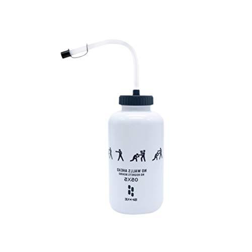 ABOOFAN Lacrosse Borraccia con cannuccia lunga in plastica senza BPA, 1 litro per lo sport, perfetta per hockey calcio (bianco)