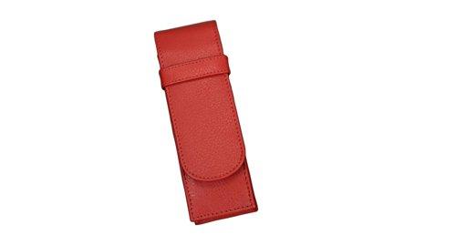 Alassio 2670 - Schreibgeräteetui aus echtem Leder, Etui in rot, Stiftetui ca. 14 x 4,5 x 2 cm, Lederetui für 2 Stifte