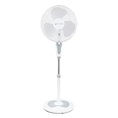 """Grunkel - FAN-B16ECOTIMER - Ventilador de pie de 16"""" con 3 velocidades y altura regulable. Base redonda de 40cm de diámetro y 3 aspas semitransparentes - 50W - Blanco"""