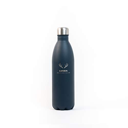 LUSSIA Borraccia 1 litro, Doppia Parete Senza perdite Senza BPA 12 Ore Caldo, 24 Ore Freddo, Isolamento Termico Tramite sottovuoto, in Acciaio Inox (Blu Notte)