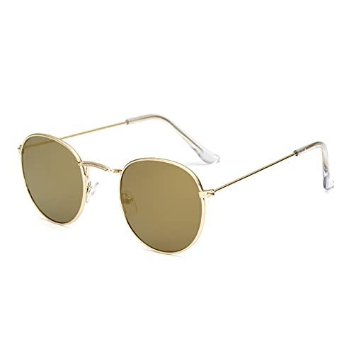 Gafas de sol unisex unisex retro con ojos de gato de metal espejado y planas., dorado, Talla única