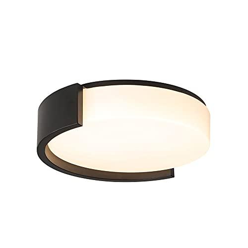 SDFDSSR Dormitorio Moderno lámpara Negra lámpara de Techo empotrada de Hierro Forjado acrílico superbrillante Temperatura de Tres Colores en una lámpara LED Plana de un Dormitorio