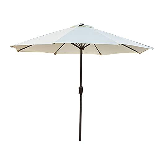 HT&PJ Sombrilla de 2,7 m, con manivela, altura de 250 cm, protección contra rayos UV, adecuada para actividades al aire libre y lugares (color blanco)
