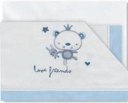 Pirulos 00912313 - Tríptico sábanas, diseño love friends 80 x 140 cm, color blanco y azul