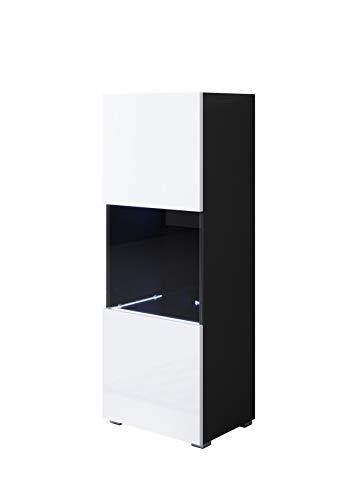 muebles bonitos Vitrina Modelo Luke V3 (40x128cm) Color Negro y Blanco con Patas estándar