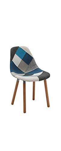 Fashion Commerce Dsw Sedia, Tessuto Patchwork, Grigio/Azzurro, 47 x 84 x 58 cm