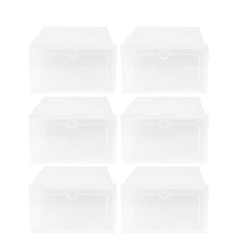 ZLDDE Caja de Zapatos 6pcs Zapatos Cajas Engrosada Caja de cajón Transparente Cajas de Zapatos de plástico Caja apilable Organizador de Zapatos para Mujeres/Hombres (Color : L)