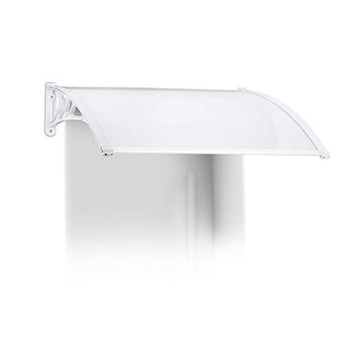 Relaxdays Vordach Haustür, Kunststoff, Aluminium, Pultbogenvordach, HxBxT: 100 x 80 cm, Überdachung, Transparent