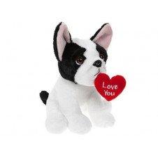 Holland Plastics Original Brand 'Love You' French Bulldog with Heart , Perfect Plush - Aprrox 20cm