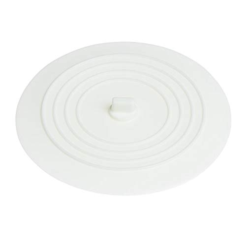 MagiDeal Tapón de Tina Tapón de Drenaje de Silicona Tapón de Ducha de 6 Pulgadas Tapón de Succión Plana Cubierta de Drenaje de Silicona para Bañera Fregadero D - Blanco