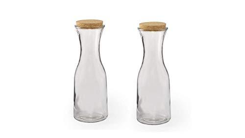 Lote de 2 jarras de cristal con tapón de corcho ecológico, 1 litro, original y elegante, ideal para agua y vino.