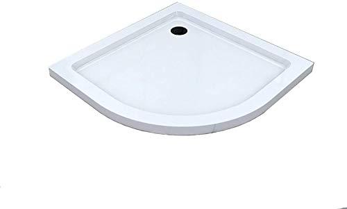 BuyLando.Shop [Typ-DT] Duschtasse Duschwanne Acrylwanne Sanitär-Acryl Brausewanne 5 cm flach Variation (90x90cm Viertelkreis inkl. Ablauf)
