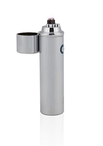 TESLA Lighter T02 Lichtbogen Feuerzeug, Plasma Double-Arc, elektronisch wiederaufladbar, aufladbar mit Strom per USB, ohne Gas und Benzin, mit Ladekabel, in edler Geschenkverpackung Silber