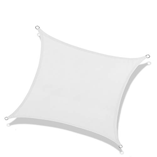 NAKAMORY Sun Shade Sail Waterproof 95% UV Block for Outdoor Garden Patio Backyard (10'×13', White)