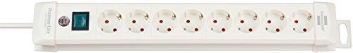 Brennenstuhl Premium-Line, Steckdosenleiste 8-fach (Steckerleiste mit Schalter und 3m Kabel - 45° Winkel der Schutzkontakt-Steckdosen, Made in Germany) weiß