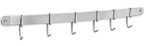 Internets Best Kitchen Wall Mounted Rail Rack with Hanging Hooks - 6 Sliding Hooks - Kitchen Utensil Lid Spatula Measuring Cup Storage Rack Organizer - Stainless Steel Kitchen Towel Rack