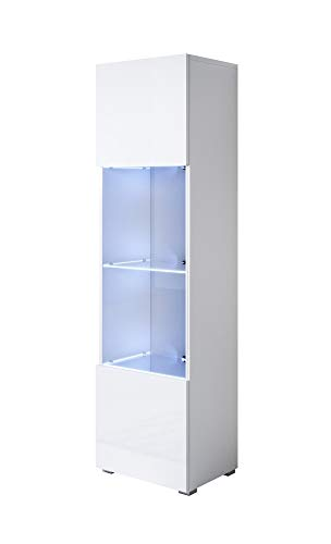 muebles bonitos Vitrina Modelo Luke V6 (40x167cm) Color Blanco con Patas estándar