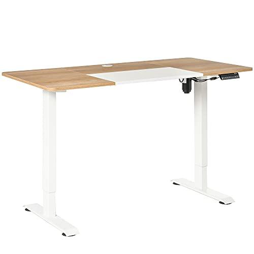 Vinsetto Elektrischer Schreibtisch Computertisch höhenverstellbar Stehschreibtisch Bürotisch Schreibtischständer Metall Spanplatte Natur+Weiß 140 x 70 x 72-116 cm