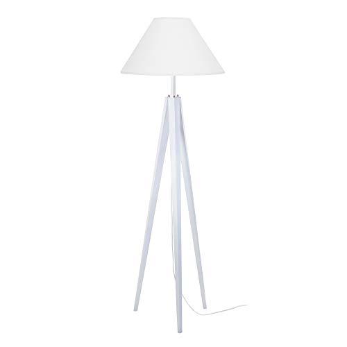 Tosel 51074 Lampadaire, Bois/Tube Acier, Abat-Jour Coton, E27, 40 W, Blanc, 50 x 163 cm