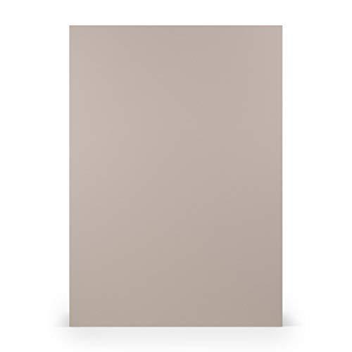PAPERADO 50x Briefpapier DIN A4 - Taupe gerippt Grau 100 g/m² - Papierbögen in 29,7 x 21 cm zum Basteln & Drucken