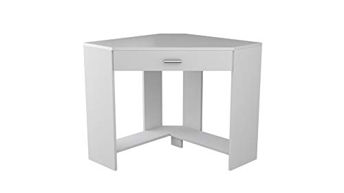 Ideal Gloss White Compact Modern Corner Computer Writing Desk for Home Office