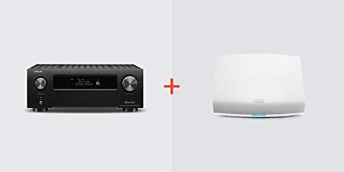 Denon AVR-X4500H Receiver + HEOS 5 Wireless Speaker (White) Bundle, AVRX4500H+HEOS5WT