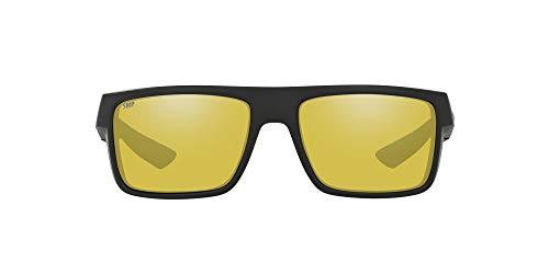 Costa Del Mar Men's Motu Polarized Rectangular Sunglasses, Blackout/Silver Sunrise Mirrored Polarized-580P, 58 mm
