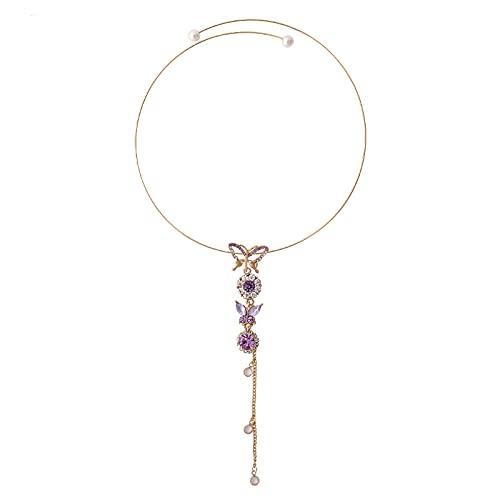 YTGLQAZ Collar De Cadena, Collar para Mujer, Moda, Hermosa Gargantilla De Mariposa, Collares con Colgante De Cristal Púrpura Largo, Regalos para Fiestas De Boda para Niñas