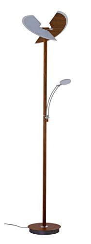 LED Deckenfluter Briloner 1334-024 Stehleuchte Tastdimmer Braun Holzoptik