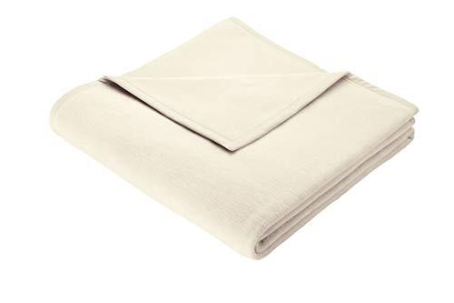 Biederlack Wohn- und Kuscheldecke, 60 % Baumwolle, Veloursband-Einfassung, 150 x 200 cm, Natur, Orion Cotton, 240103