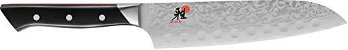 Miyabi 600D Santokumesser, 180 mm Klingen, CMV60 Stahl, Damast-Design, 65 Lagen, Griff genietet, Vollerl, Kunststoff-Schalen, schwarz