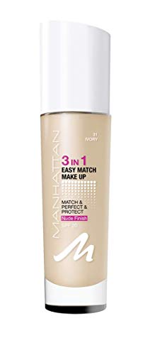 Manhattan 3in1 Easy Match Make Up, ölfreie Foundation für einen makellosen Teint, Farbe 031 ivory, 30ml