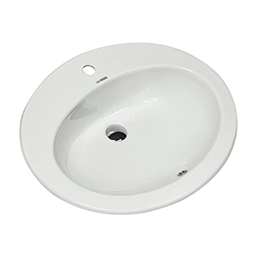 Jo-Bagno.it LAVABO Incasso Tondo Ceramica - Lavandino Soprapiano Oval L. 62 x 52 cm Monoforo Pred. a 3 Fori