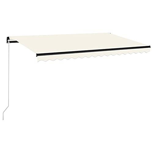 Tidyard Toldo Manual Retráctil con Tira LED Brazo Plegable Impermeable Protección Solar Porche Jardín Sombra Exterior Terraza Patio Color Crema 400x350 cm