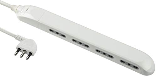 Electraline 61910 Multipresa Super Slim Salvaspazio 23 mm, 4 Posti Bivalenti 10/16A, Spina 90° 16A, Cavo 1.5 M, Bianco