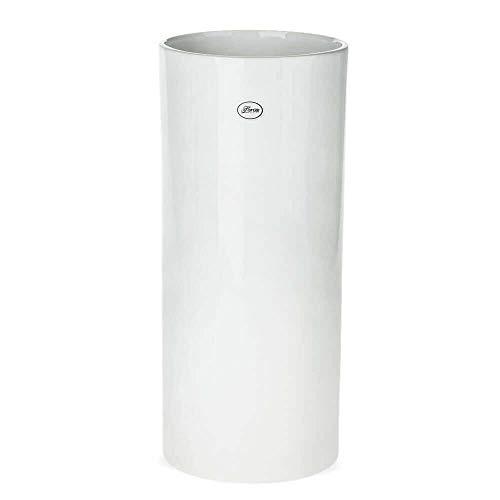 matches21 Vase Keramik Zylinder weiß Deko Keramikvase Blumenvase Tischvase Bodenvase hoch rund 1 STK - Ø 16x35 cm