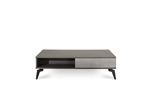 Limari Home Cuscana Collection Modern Style Living Room Italian Faux Concrete & Matte Coffee Table With 1 Soft Closing Drawer, Storage Compartment & Metal Legs, Grey