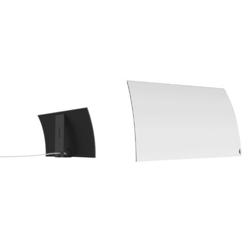 Mohu Curve 30 Indoor TV Antenna, 30-Mile Range, UHF/VHF Multi-directional, Paper-Thin Design, 10 ft. Detachable Coaxial Cable, Modern Design with Base Stand, 4K-Ready HDTV, MH-110566, White