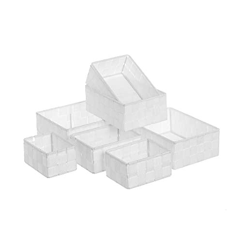 TIENDA EURASIA® Cestas de Almacenaje - Juego de 7 Cestas de Ordenación para Baño - Estructura Metálica y Tela Trenzada de Polipropileno (Blanco)