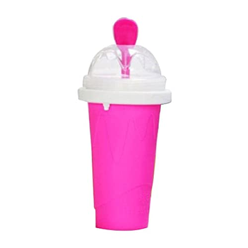 Quickly Make Smoothie Cups, Fast Cooling Cups, Family and Children Summer Cooling Squeeze Cups, Magic Squeeze ice Cups, Portable Squeeze Juice ice Cups Red