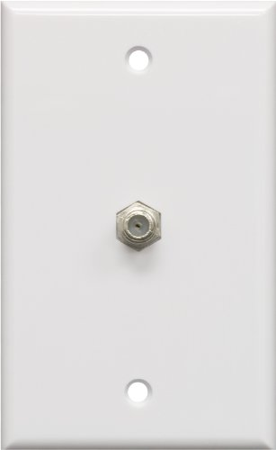 GE Coax Plate, 1-Port, One Wall Mounted F-Type Connection for Coaxial Cable, Screws Included, Single Gang, White, 40050