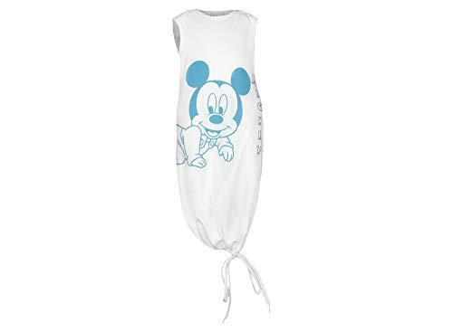 Baby Jungen Sommer-Schlafsack ärmellos 100% Bio-Baumwolle mit Mickey Mouse, für 0-6 Monate von Disney in Weiß oder Blau, GOTS Zertifiziert, Pucksack, Strampelsack Farbe Blau, Größe 1