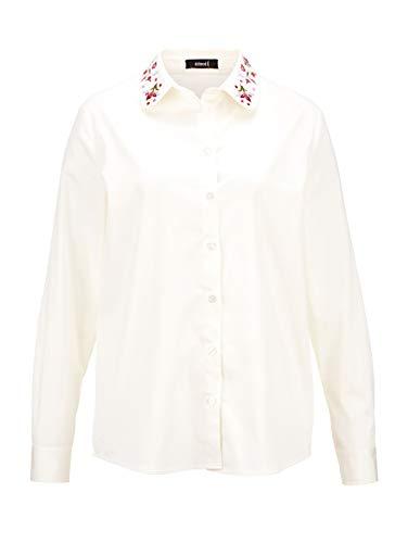 Delmod Damen Hemdbluse Langarm mit Hemdkragen in Beige aus Baumwolle