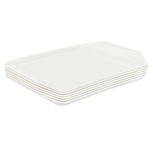 Xyskin Bandejas de plástico para servir comida rápida, bandeja de comida de cocina, blanco, 6 paquetes