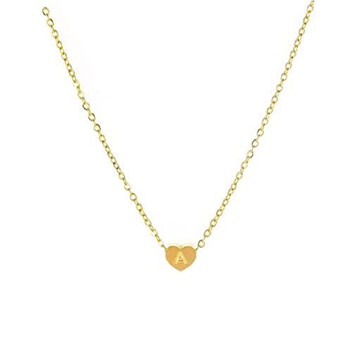 Onsinic Collar con colgante de inicial en forma de corazón con cadena para mujeres y niñas