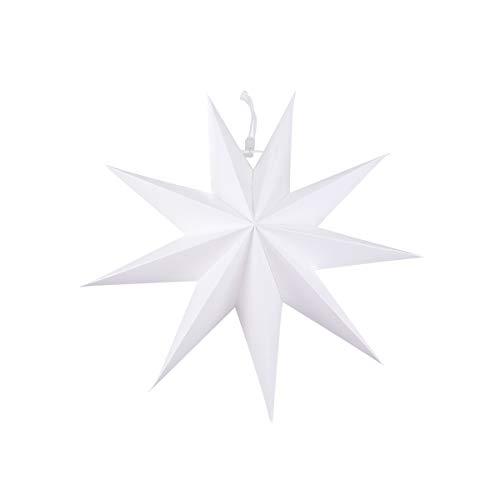 BESTOYARD Hängelampe, Papierstern-Lampe, gefaltet, zum Aufhängen, Dekoration für Hochzeit, Geburtstag, Babyparty, Zuhause, 30 cm, Weiß