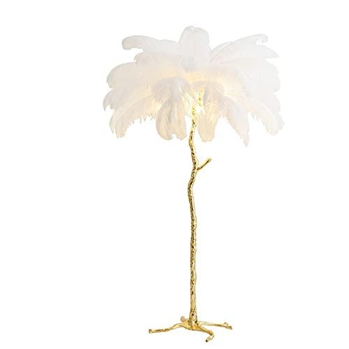 AKEFG Lámpara de pie LED para Sala de Estar, diseño Moderno, lámpara de pie de Lujo, Pantalla de Plumas con Interruptor de Pedal, lámpara de pie para Dormitorio (110x170cm)