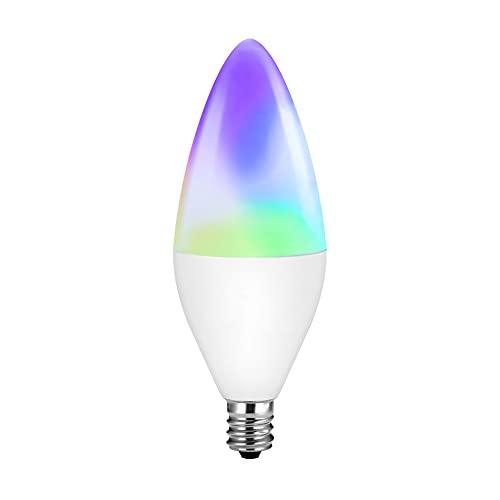 Bombillas E14, bombilla que cambia de color, regulable, bombilla inteligente E14 Zigbee RGBW Candelabra Bulb Smart Life App Voice...