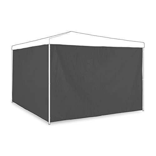 Relaxdays Seitenteile, 2er Set, Seitenwand für 3x2 m Pavillons, wasserdicht, ohne Fenster, Kunststoff, grau